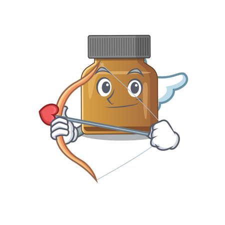 Bottle vitamin b in sweet romantic cupid cartoon drawing with arrow. Vector illustration