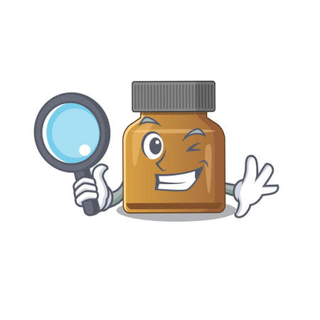 cartoon picture of bottle vitamin b Detective using tools. Vector illustration