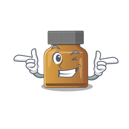 Cartoon design of bottle vitamin b showing funny face with wink eye. Vector illustration