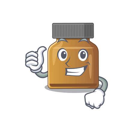 Bottle vitamin b cartoon character design showing OK finger. Vector illustration Çizim