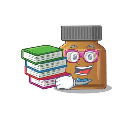 A diligent student in bottle vitamin b mascot design concept read many books. Vector illustration