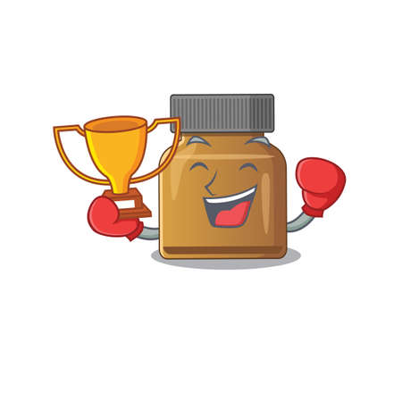 An elegant boxing winner of bottle vitamin b caricature design concept. Vector illustration