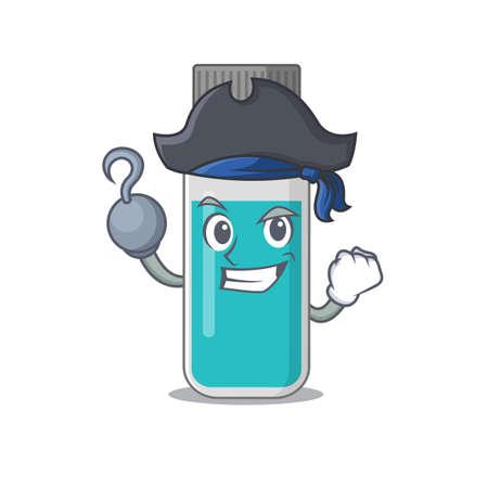 one hook hands Pirate character medical test bottle cartoon design. Vector illustration