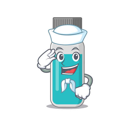 A brave sailor caricature design style of medical test bottle ready to sail. Vector illustration