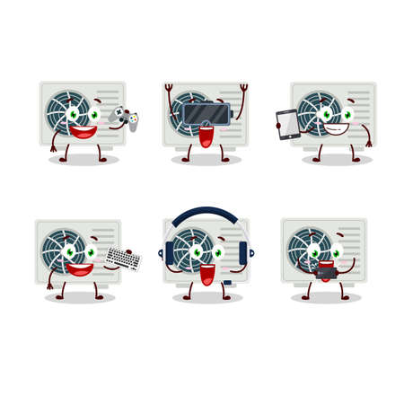 Air conditioner cartoon character are playing games with various cute emoticons. Vector illustration
