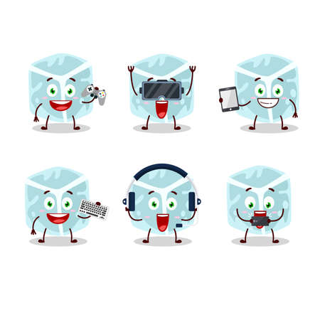 Ice tube cartoon character are playing games with various cute emoticons. Vector illustration