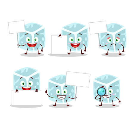 Ice tube cartoon character bring information board. Vector illustration Çizim