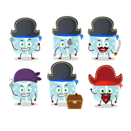 Cartoon character of ice tube with various pirates emoticons. Vector illustration