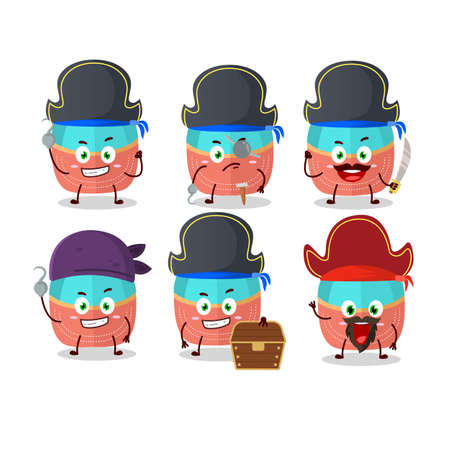 Cartoon character of hat with various pirates emoticons Illustration