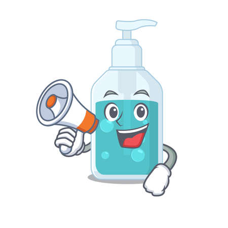 Mascot design of hand sanitizer announcing new products on a megaphone. Vector illustration