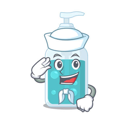 Smiley sailor cartoon character of hand sanitizer wearing white hat and tie. Vector illustration