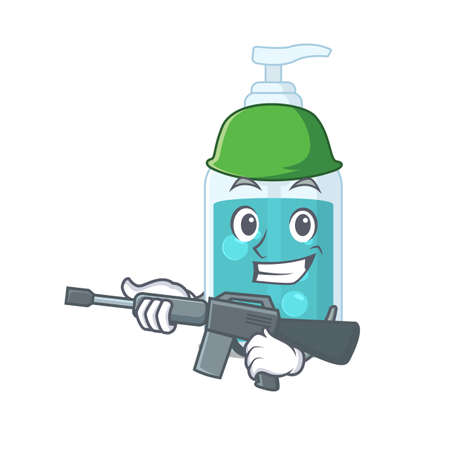 A cartoon picture of Army hand sanitizer holding machine gun. Vector illustration