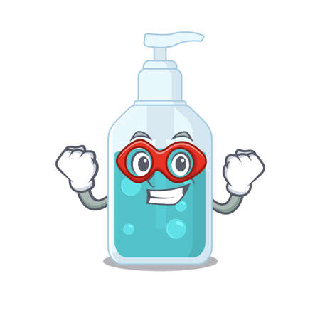 A cartoon drawing of hand sanitizer in a Super hero character. Vector illustration