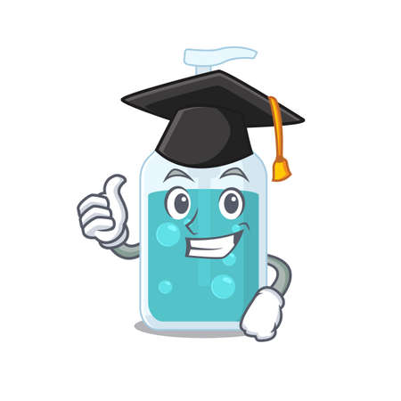 Happy proud of hand sanitizer caricature design with hat for graduation ceremony. Vector illustration