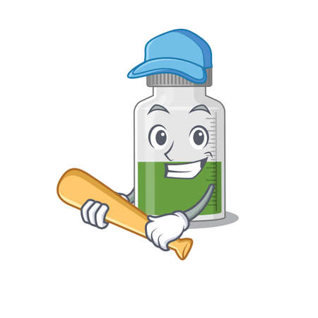 Attractive vitamin syrup caricature character playing baseball. Vector illustration Vector Illustration