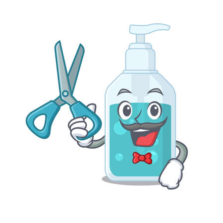 Hand sanitizer cartoon character design as talented barber. Vector illustration Stock Illustratie