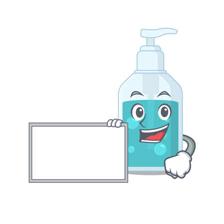 Cartoon character design of hand sanitizer holding a board. Vector illustration