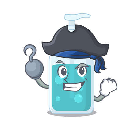 Hand sanitizer cartoon design in a Pirate character with one hook hand. Vector illustration