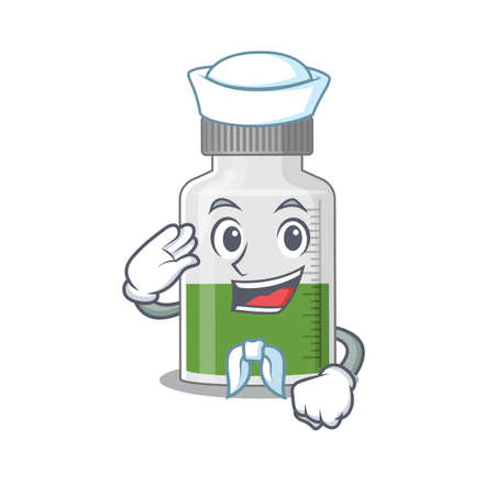 Smiley sailor cartoon character of vitamin syrup wearing white hat and tie. Vector illustration