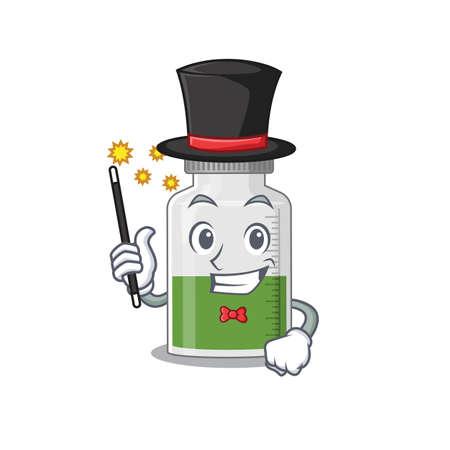 A gorgeous smart Magician of vitamin syrup cartoon design style. Vector illustration Ilustración de vector