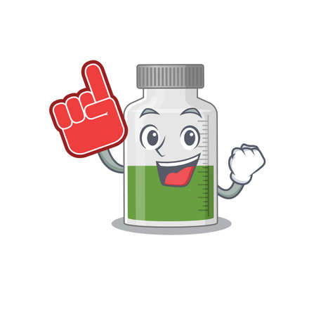 Vitamin syrup in cartoon drawing character design with Foam finger. Vector illustration 일러스트