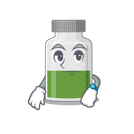 Mascot design style of vitamin syrup with waiting gesture. Vector illustration