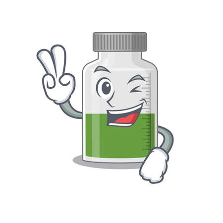 Happy vitamin syrup cartoon design concept show two fingers. Vector illustration