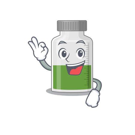 vitamin syrup mascot design style showing Okay gesture finger. Vector illustration 일러스트