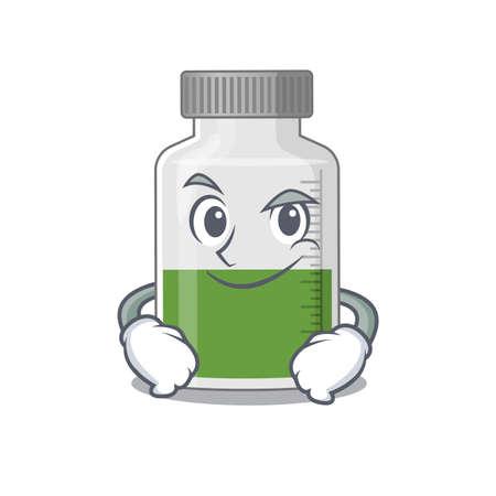A cute arrogant caricature design of vitamin syrup having confident gesture. Vector illustration 일러스트