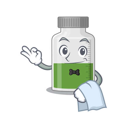 A cartoon picture of vitamin syrup waiter with a white napkin. Vector illustration Ilustracja