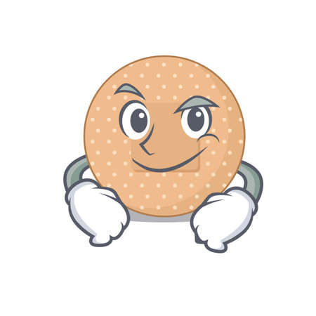 A cute caricature picture of rounded bandage having confident gesture. Vector illustration