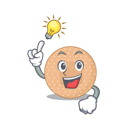genius rounded bandage Mascot character has an idea gesture. Vector illustration