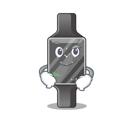 A cute caricature picture of smart watch having confident gesture. Vector illustration 일러스트