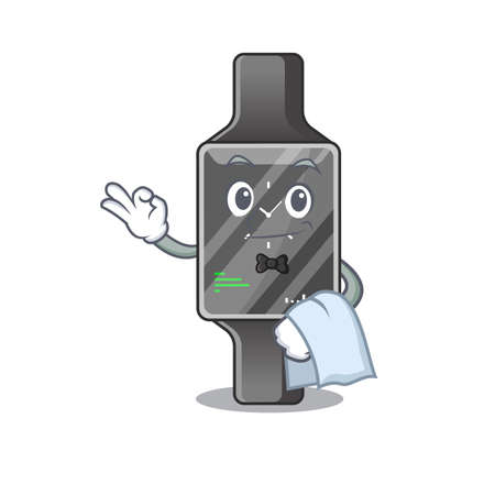 A Caricature design style of smart watch as a waiter with a white napkin. Vector illustration
