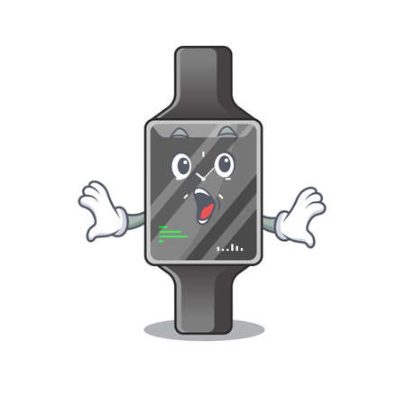 Smart watch mascot design concept showing a amazed gesture. Vector illustration