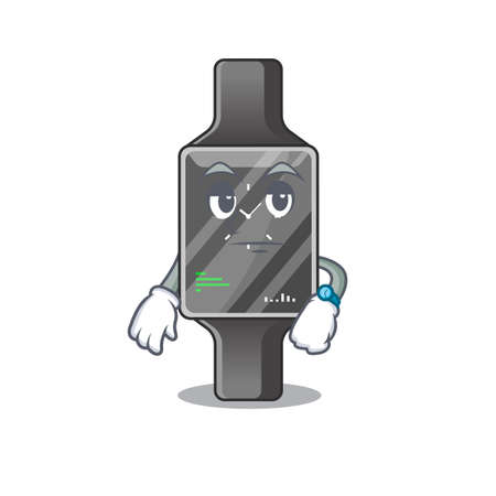 Mascot design style of smart watch with waiting gesture. Vector illustration