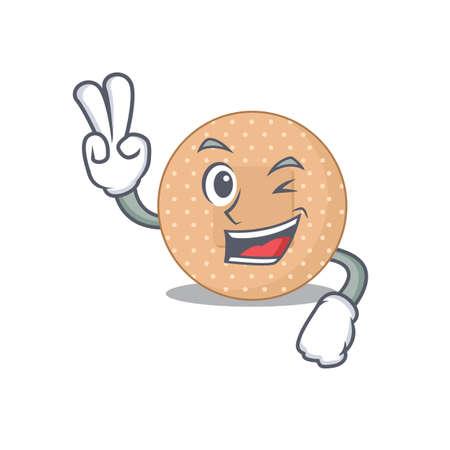 A joyful rounded bandage cartoon mascot style show two fingers pose. Vector illustration 일러스트