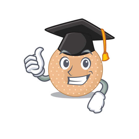 Rounded bandage caricature picture design with hat for graduation ceremony. Vector illustration