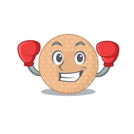 Rounded bandage Caricature character design as a champion of boxing competition. Vector illustration