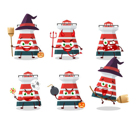 Halloween expression emoticons with cartoon character of mercusuar
