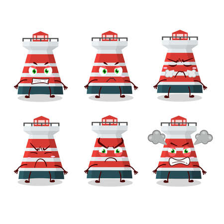 Mercusuar cartoon character with various angry expressions. Vector illustration