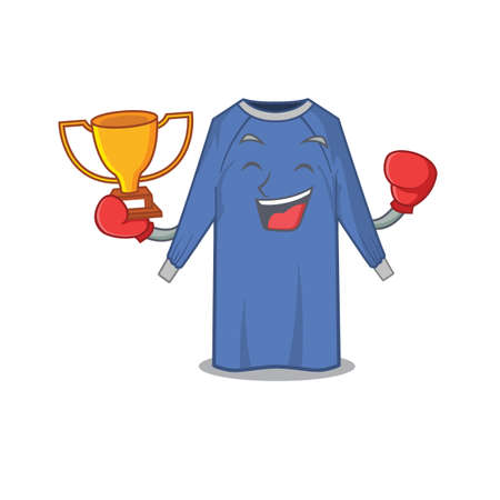 An elegant boxing winner of disposable clothes caricature design concept. Vector illustration Ilustração