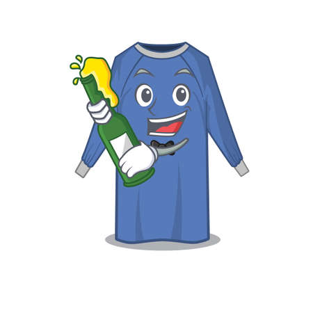 caricature design concept of disposable clothes cheers with bottle of beer. Vector illustration