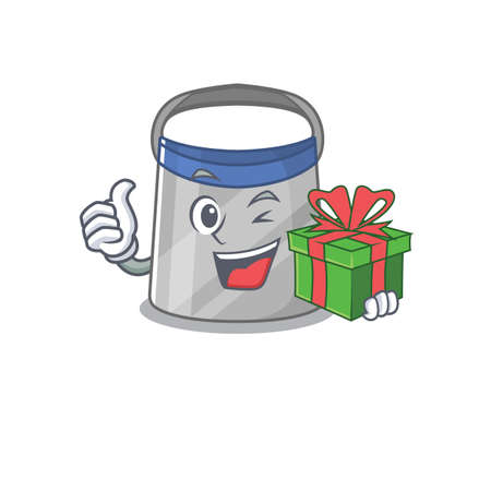 joyful face shield cartoon character with a big gift box. Vector illustration Ilustrace