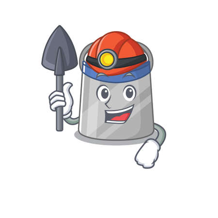 A cartoon picture of face shield miner with tool and helmet. Vector illustration Illustration
