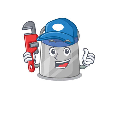 cartoon character design of face shield as a Plumber with tool. Vector illustration Illusztráció