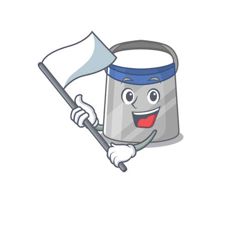 A heroic face shield mascot character design with white flag. Vector illustration