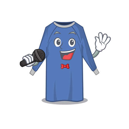 cartoon character of disposable clothes sing a song with a microphone. Vector illustration Vettoriali