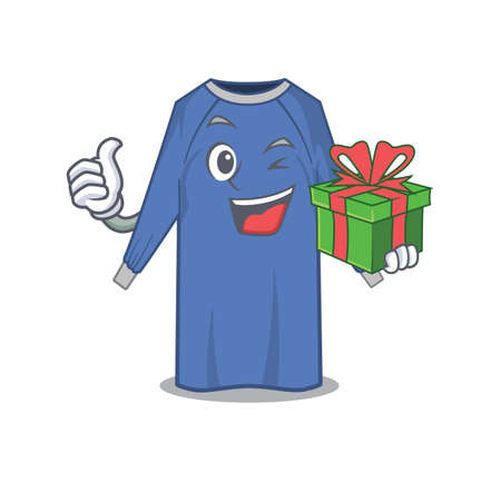joyful disposable clothes cartoon character with a big gift box. Vector illustration