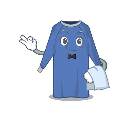 A cartoon picture of disposable clothes waiter with a white napkin. Vector illustration